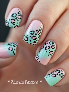 Leopard spots over cotton candy gradient nail design #polish #nailart