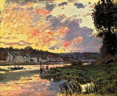 The Seine at Bougival in the Evening 1869 Claude Monet