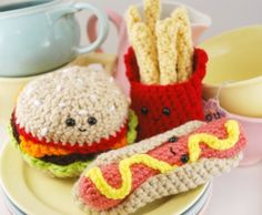 Crocheted hamburger, fries and hot dog! By youcute on Etsy.