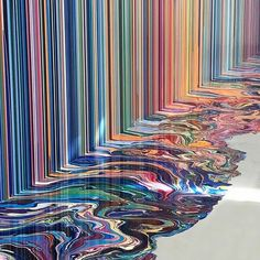 Meters of puddles and swirls as stripes meet floor by Ian Davenport