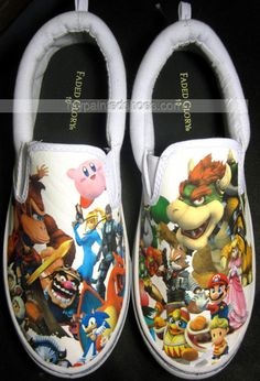 Custom Nintendo Shoes Slip-on Painted Canvas #Shoes