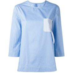Maison Margiela contrast pocket pinstripe top (38.175 RUB) ❤ liked on Polyvore featuring tops, blue, 3/4 sleeve tops, patterned tops, blue print top, pocket tops and 3/4 length sleeve tops