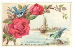 Old Fashion Stove Trade Card Atkinson Furnishing Co Bangor ME Roses boat