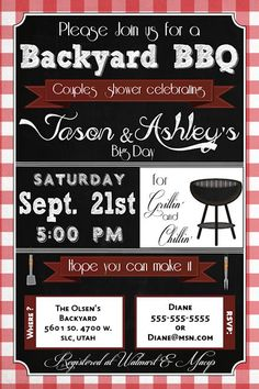 couples shower invitations bridal bbq invitation