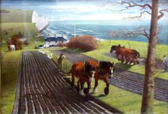 Ploughing the Downs, James Bateman, 1939  Love Pictures, Pictures To Draw, Leeds College Of Art, Farm Art, Horse Art, Fun Projects, Oil On Canvas, Garden Design, Things To Come