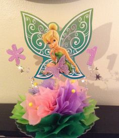 Tinkerbell 1st Birthday shellysdecor4you@gmail.com #Birthdays #BabyShowers #Graduations etc... shellysdecor4you@gmail.com  #centerpiece  #ShellysDecor