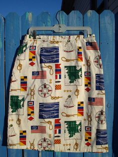 Vintage 1980s Pencil Skirt  Nautical Novelty Print  by bycinbyhand, $35.00