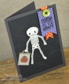 Trick Or Treating Skeleton Card by Nichole Heady for Papertrey Ink (August 2012)