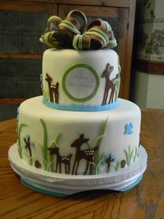 Willow Baby Deer - Baby shower cake with baby's nursery theme. Took elements from other cakes on CC and put into the shape and design requested by customer. All fondant decorations.