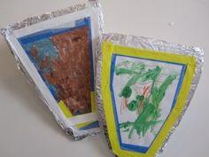 Knight Shields Kids Craft //cute for Shield of Faith Armor of God Preschool Themes, Craft Activities, Preschool Crafts, Dragons, Crafts To Make, Crafts For Kids, Fairy Tales Unit, Knight Shield, Fairy Tale Theme