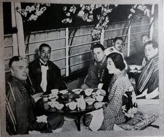 """The Japanese movie magazine """"EIGA NO TOMO"""" ( The friends of Movies)  in June 1932 was reported the news that Charlie Chaplin visited to Japan same year. Charlie,  Sidney Chaplin, His Japanese secretary Toraichi Kono"""