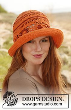 "Ravelry: 139-8 ""Summer Harmony"" - Hat in ""Safran"" and ""Cotton Viscose"" pattern by DROPS design"