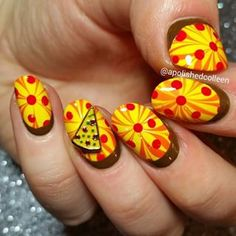 Yummy pizza nails by @apolishedcolleen using Pure Color 7 watermarble tool from whatsupnails.com (link in bio). Shipping...