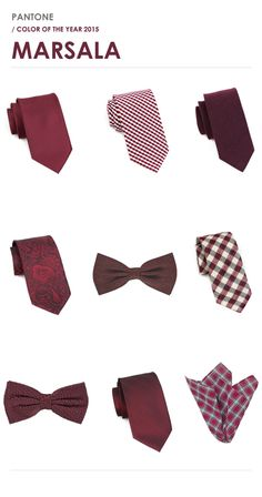 Groomsmen Accessories in Marsala Color | Ties, Pocket Squares Bow Ties in Marsala wedding - marsala #color of the year