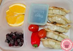 Chicken pot stickers packed for lunch | with @EasyLunchboxes & Mini Dippers