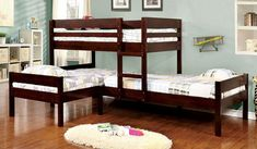 Checkout the wood Corner triple twin bunk bed in Espresso featuring a bunk bed for 3 or more with optional under bed trundle. Free Shipping