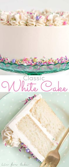 This Classic White Cake recipe pairs fluffy vanilla cake layers with a silky white Swiss meringue buttercream. | livforcake.com via @livforcake