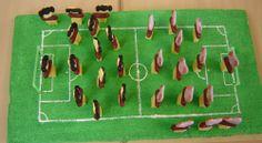 Hartig en zoete voetbalspelers op een voetbalveld
