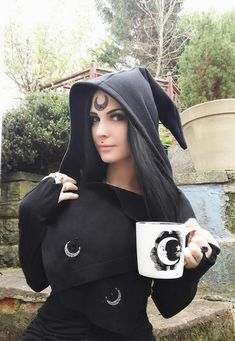 Pagan Fashion, Mori Fashion, Triple Goddess, Moon Goddess, Wiccan Clothing, Autumn Witch, Winter Cape, Hooded Scarf, Witch Aesthetic