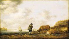 Albert Cuyp - Rivierlandschap met een herder rustend op zijn staf