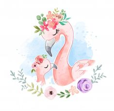 animados Cute Flamingo Family In Floral Crown Illustration Flamingo Illustration, Cute Animal Illustration, Cute Animal Drawings, Cute Drawings, Cute Images, Cute Pictures, Art Mignon, Flamingo Art, Cute Family