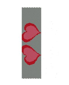 Red hearts peyote pattern,  this pattern is composed by two symmetric hearts with silver background,  peyote cuff are (1.7in x 6.37in).