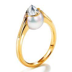 Tasaki refined rebellion collection > prime. Refined Rebellion prime ring.  RPI-4498-YGK18. Yellow Gold / Akoya pearl / diamond (refined Rebellion cut) 0.45ct. ¥ 1,260,000.