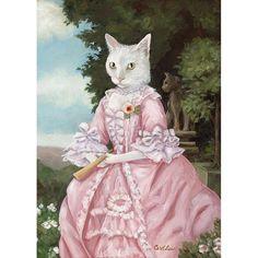 Cat Art Prints, Miss Lucy Cat Portrait, White Cat, Cats in Clothes