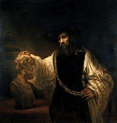 Rembrandt van Rijn (Dutch, Leiden 1606–1669 Amsterdam)    Aristotle with a Bust of Homer    1653