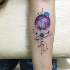Geometrical Space. This amazing space tattoo offers the geometric planets and stunning image to wear.