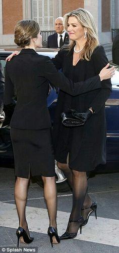 Queen Maxima & Queen Letizia At Memorial Service For Prince Kardam Of Bulgaria. June 8, 2015 In Madrid.
