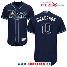 Men's Tampa Bay Rays #10 Corey Dickerson Navy Blue Alternate Stitched MLB Majestic Flex Base Jersey