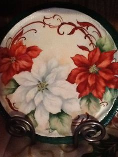 Painting of pink and white poinsettias by porcelain artist and teacher . Christmas China, Christmas Plates, Christmas Tea, Christmas Themes, Vintage Christmas, Christmas Crafts, Christmas Decorations, Christmas Ornaments, China Painting