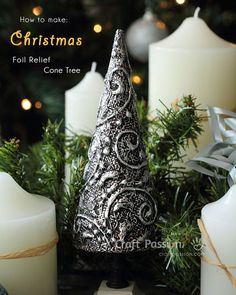 Make a chic and elegant Foil Relief Christmas Tree to decorate your home. Easy to make with cone mache, dimensional glue, aluminium foil and shoes polish.