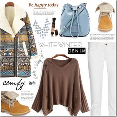 On Trend: Winter White Denim by mada-malureanu on Polyvore featuring Timberland, Marc by Marc Jacobs, Charlotte Russe, women's clothing, women's fashion, women, female, woman, misses and juniors