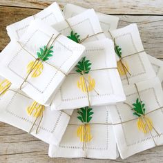 Back in stock! Set of four monogrammed pineapple cocktail napkins