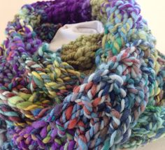 Infinity Scarf Bulky Cowl Multicolor Blue by StitchesnQuilts