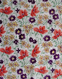 Full large vintage feedsack fabric 1940s lavender floral by oodles, $34.75