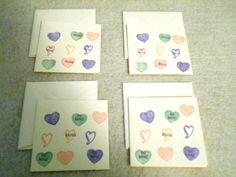 Set of 4 Conversation Hearts Valentine by DawnFrostDesigns on Etsy, $5.00