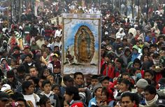 Our Lady of Guadalupe, the patron saint of Mexico, and of all of Central and South America.  Thousands flock to the shrine outside Mexico City for special ceremonies and mariachi-led singing, which are televised nationally. The festival commemorates the appearance of the Virgin Mary to an Aztec man, and the miracles she performed to cause the Church of Guadalupe to be built. She became a symbol, not just of faith, but also of native pride and resistance against oppression.