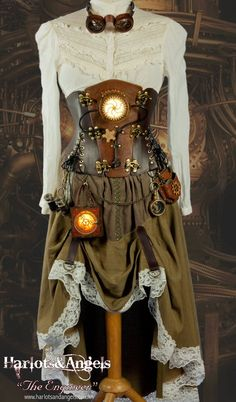 Steampunk dress with glowing lantern