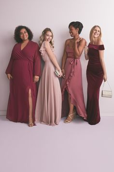 Mix and match your maids for the perfect modern bridal party! | #bridemaids #mixandmatchmaids #bridesmaidsdresses | Style W60041 in Merlot, F20065 in Quartz, F20208 in Chianti, DS270043 in Merlot | Shop these styles and more at davidsbridal.com Ruffles Bridesmaid Dresses, Davids Bridal Bridesmaid Dresses, Prom Dresses, Wedding Dresses, Bridesmaids, Burgundy Wedding, Red Wedding, Wedding Ideas, Off The Shoulder