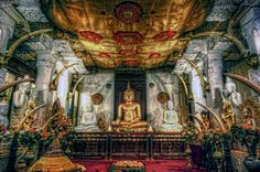 Main worship hall of The Temple Of The Tooth Relic in Kandi, Sri Lanka.
