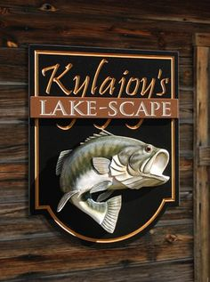 I love the way this carved fish seems to be jumping out of the sign! Lake House Signs, Cabin Signs, Lake Signs, Carved Wood Signs, Hand Painted Signs, Wooden Signs, Sign Board Design, Fishing Signs, Antique Signs