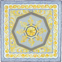Keith Dommer set out to do a predominantly one-color quilt in each of the primary and secondary colors. Curvilinear Energy on the cover of Quilters Newsletter April/May 2014 is his study in yellow.