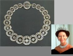 The Teck Circle Tiara as a necklace, worn by The Princess Margaret.