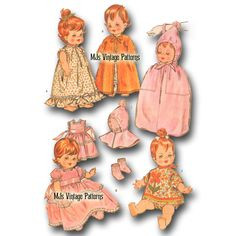 Vtg Baby Doll Clothes Pattern ~ Pebbles, Littlest Angel, Ann Estelle Baby Doll Clothes, Doll Clothes Patterns, Doll Patterns, Vintage Patterns, Clothing Patterns, Dress Patterns, Pattern Dress, Kids Clothing, Sewing Patterns