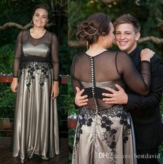 Black And White Lace Evening Dresses With Illusion Tulle Jewel Neckline Long Sleeves A Line Beaded Embroidery Floor Length Skirt Sexy Long Evening Dresses Sexy Short Evening Dresses From Bestdavid, $145.73| Dhgate.Com