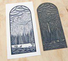"Linocut Print, Yosemite Poster, Bridalveil Fall, National Park Art 8 1/2"" x 17"" $95"