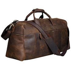 89bbb76eae S-Zone Vintage Crazy Horse Leather men s Travel Duffle luggage Bag Mens  Travel Bag